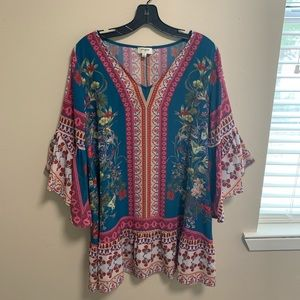 Shirt Dress with Bell Sleeves- Size S